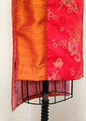 Orange Shantung Pencil skirt with Brocade Panel