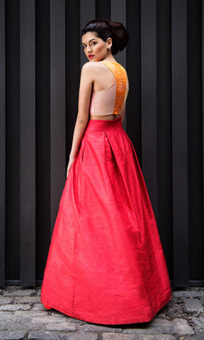 Poppy Red Long Ball-Gown Skirt