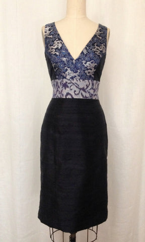 "Navy Mixed Media ""Sophia"" Dress"