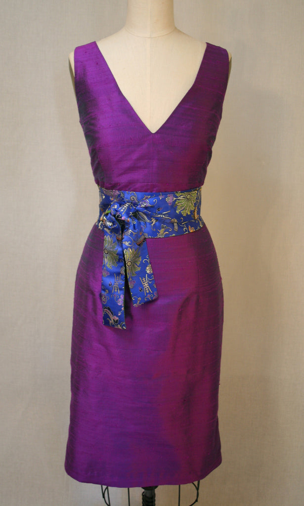 Purple deep V-neck Fitted Shantung Dress