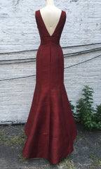 Deep V Long Shantung Trumpet Dress