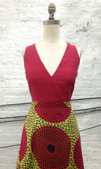 "Raspberry Shantung & African Print ""Brianna"" Dress"
