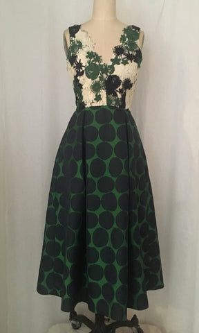 Lace and Polka Dot Tea-length Party Dress