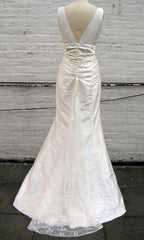 Deep V-neck Trumpet Wedding Dress with Lace Bustle Back