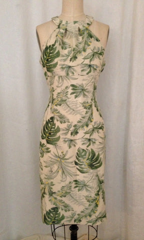 Tropical Print Grecian Halter Dress