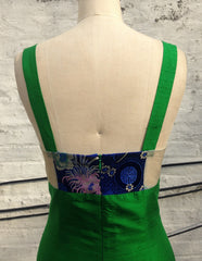 Green Shantung & Royal Blue Brocade Mixed Media Sheath Dress