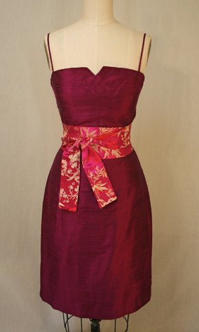 Spaghetti-strap fitted shantung dress