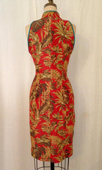 Tropical Print Cheongsam Dress