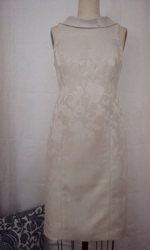 Ivory Brocade Roll-Collar Sheath Dress