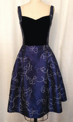 "Navy Embroidered Taffeta ""Caroline"" Dress"