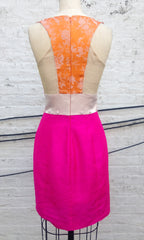 "Hot Pink Mixed Media ""Sophia"" Dress with Train"
