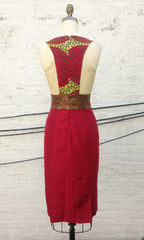 "Raspberry Mixed Media ""Sophia"" Dress"