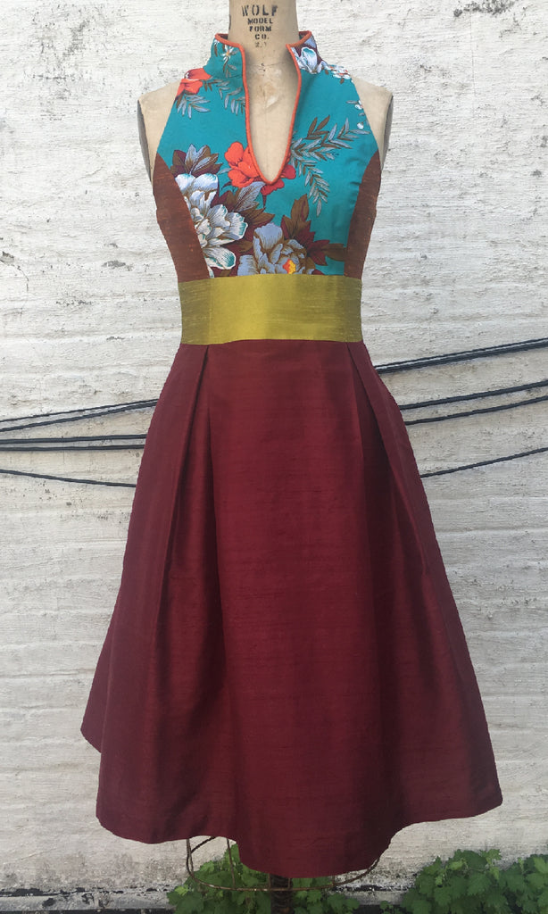 Asian-inspired Mixed Media Cocktail Dress