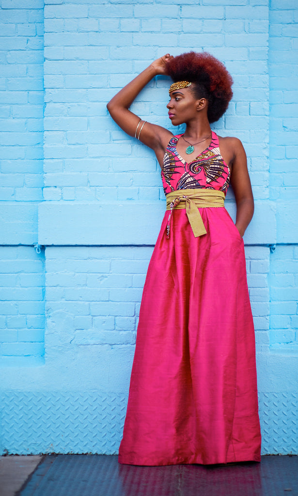 SOLD OUT! African Print and Shantung Halter Maxi Dress