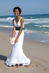 White Eyelet Deep V-neck Trumpet Wedding Dress with Ruffle