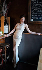 Ivory Modern Mixed Media Column Gown