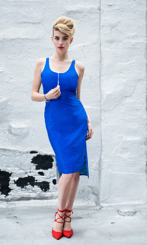 Scoopneck Sheath Dress with Mesh Racer Back