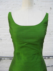 Green Apple Ballet Scoopneck Long Shantung Trumpet Dress