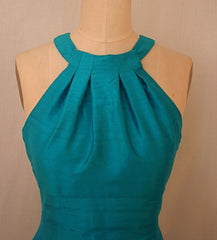 Grecian Halter Long Shantung Trumpet Dress
