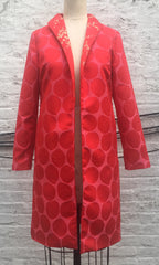 Red and Pink Dot Brocade Coat