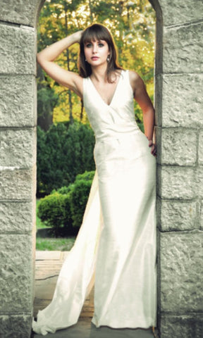 Deep V-neck Shantung Trumpet Dress