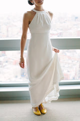Grecian Halter Long Trumpet Dress