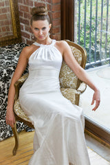 White Grecian Halter Long Trumpet Dress with Bead Trim