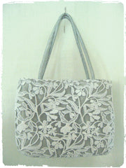 White Lace and Silver Shantung Mini Tote
