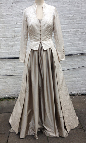 Brocade Long Edwardian Wedding Coat