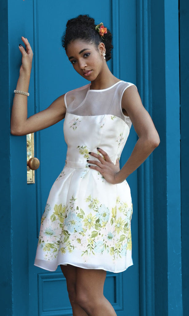 "Floral Printed Gazar 60s Inspired ""Teacup"" Dress"