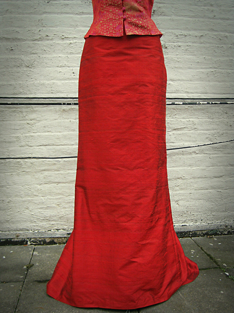 Long Shantung Trumpet Skirt