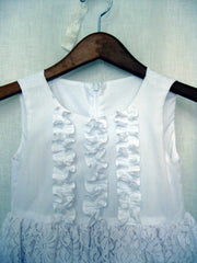 White Cotton & Lace Flower Girl Dress