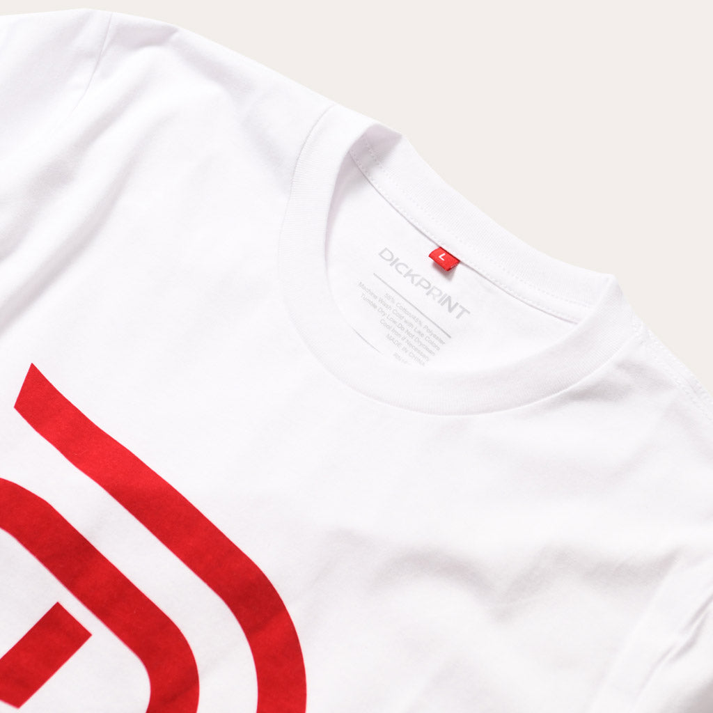 DickPrint Red Logo on White Tee