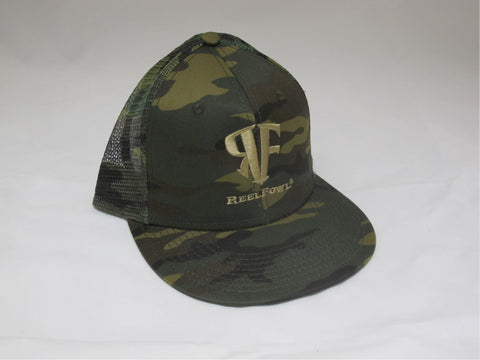ReelFowl Snap Back Hat - Camo with Tan Logo