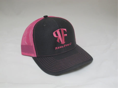 ReelFowl Snap Back Hat - Grey/Pink Trucker