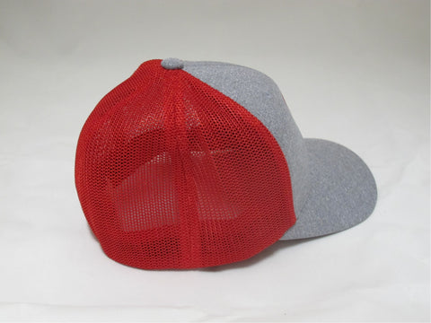 ReelFowl Flex Fit Hat - Grey and Red Mesh Back