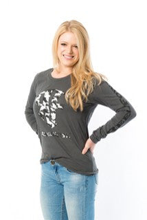 Womens ReelFowl Camo Long Sleeve Shirt - Asphalt Grey