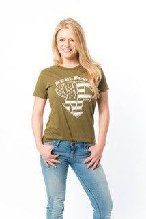 Womens Stars and Stripes Short Sleeve Shirt - Asphalt or Military Green
