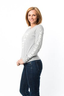 Womens Stars and Stripes Long Sleeve Shirt - Heather Grey