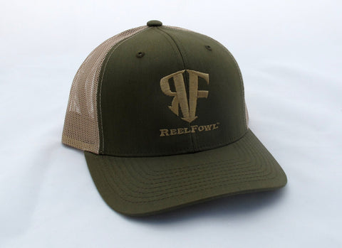 ReelFowl Snap Back Hat - Olive/Tan