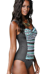 Sky Blue Boho Print One Piece Swimwear
