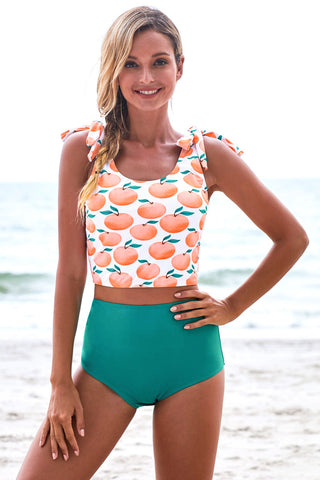 Apple Print Shoulder Tie Tankini Swimsuit