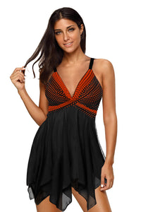 Orange Retro Polka Dot Print Handkerchief Hem Tankini Set