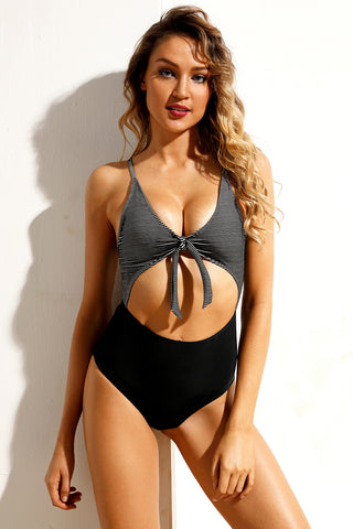 Black White Striped Cutout Tie Front Maillot Swimsuit