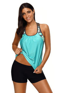 Light Green Print Insert Racerback Tankini Set