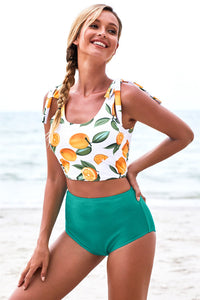 Orange Print Shoulder Tie Tankini Swimsuit