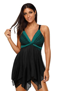 Green Retro Polka Dot Print Handkerchief Hem Tankini Set