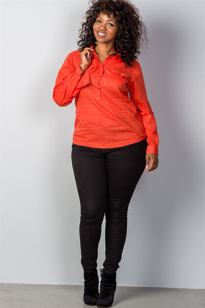 Ladies fashion plus size roll-sleeve plus size top