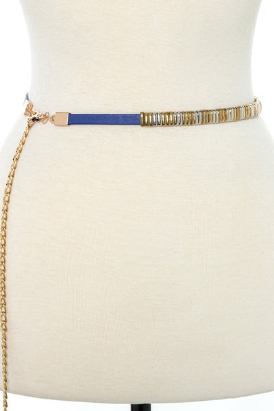 Metal accent chain fashion belt