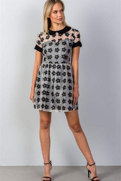 Ladies fashion daisy print baby doll peter pan collar mini dress
